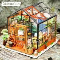现货 若态DIY小屋创意礼品纯手工拼装房子模型凯西花房玩具