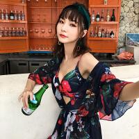 性感泳衣女士比基尼三件套半袖罩衫泡温泉韩国小香风小胸聚拢泳装