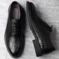 皮鞋男布洛克套脚圆头商务休闲雕花软面皮软底潮夏季男鞋