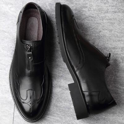 皮鞋男布洛克套脚圆头商务休闲雕花软面皮软底潮夏季男鞋 精挑细选