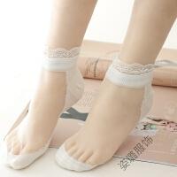 水晶袜子女短袜夏季薄款玻璃丝短袜棉底丝袜蕾丝花边女袜 花边白色5双 白丝 均码