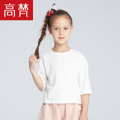 高梵2018新款 儿童T恤女短袖圆领休闲棉质简约T恤宽松韩范夏季清仓