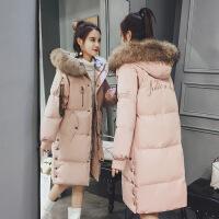 羽绒女中长款冬装2017新款反季外套女加厚大毛领棉衣过膝棉袄