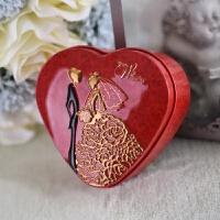 喜糖盒 铁盒 心形马口铁糖盒喜糖盒子喜糖盒结婚铁盒婚庆礼品喜糖礼品铁盒 金色 豪门淑女红