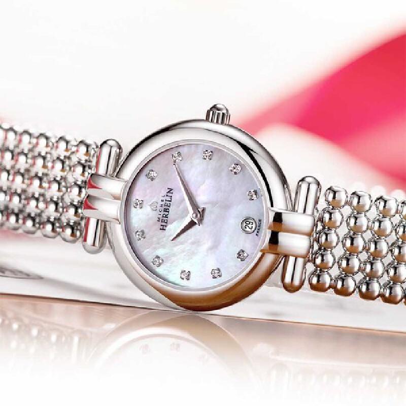 法国总统夫人之选 法国优雅腕表品牌:赫柏林Michel Herbelin-Perles 珍珠系列 -爱之印记- 16873/B59 女士石英表2月9-12日情人节活动专享买一对再享9折优惠