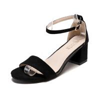 高跟鞋绒面粗跟凉鞋女罗马鞋露趾一字扣41 特大码女鞋