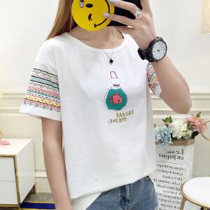 新款夏装上衣宽松短袖t恤女士韩版学生夏季半袖衣服女