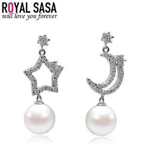 皇家莎莎S925银针不对称耳钉女韩版星星月亮贝珠仿水晶耳环耳饰品生日礼物