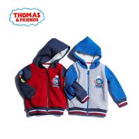 【一件5折】托马斯正版童装男童冬装拼接加绒连帽外套棉袄两色选