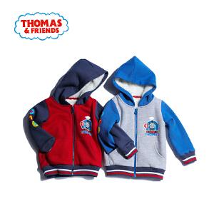 【满200减110】托马斯童装男童冬装2017冬季新品两色拼接加绒连帽外套