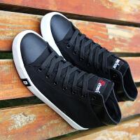 帆布鞋高帮男士韩版潮男平底板鞋学生布鞋黑色休闲中邦男鞋子 R7221黑色