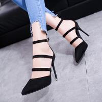 欧美新款尖头高跟鞋细跟浅口一字扣带女鞋脚环绑带绒面单鞋中空鞋 黑色 34
