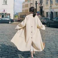 加厚双面呢大衣女中长款韩版宽松学生秋冬气质毛呢外套小个子