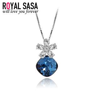 皇家莎莎925银项链女花朵形仿水晶锁骨链吊坠饰品送女友生日礼物