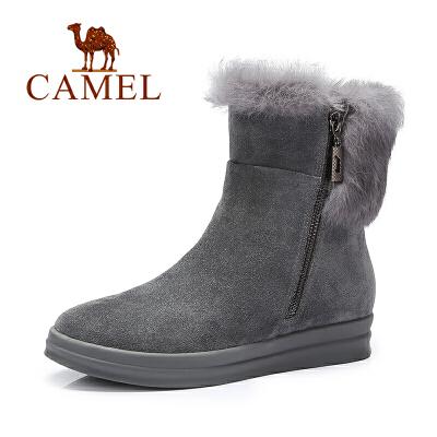 camel骆驼女鞋冬季款欧美风侧拉链短靴时尚休闲女靴