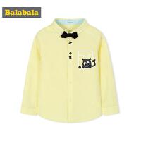 巴拉巴拉童装男童长袖衬衫纯棉秋装2017新款小童宝宝领结衬衣