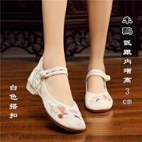 汉服鞋子老北京布鞋女内增高古风绣花鞋女坡跟古装鞋子女民族风鞋