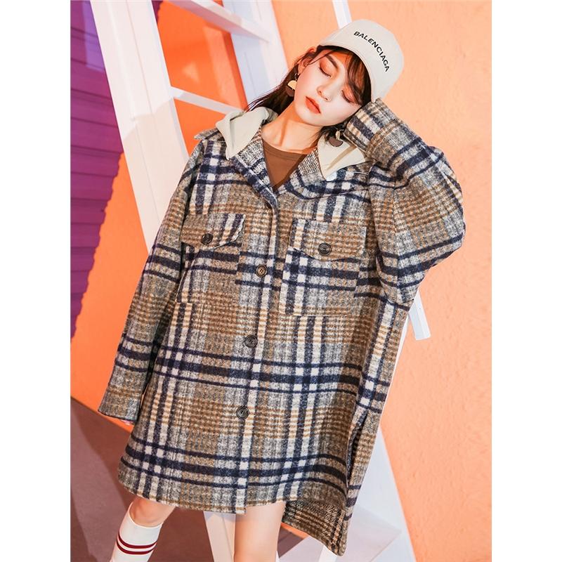 格子毛呢外套女中长款韩版秋冬季新款流行呢子大衣赫本风妮子