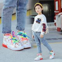 儿童白色高帮童鞋女童百搭休闲运动鞋