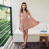 波西米亚海边度假短裙沙滩裙方领无袖露背雪纺连衣裙子海滩裙女夏 红色