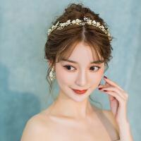 金色发带耳环套装结婚发饰超仙发箍婚纱饰品