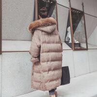 大毛领长过膝加厚格子羽绒女中长款韩版2018冬季新款宽松棉衣 图片色