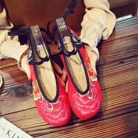 老北京布鞋女单鞋民族风绣花鞋子女学生古风鞋帆布鞋汉服鞋内增高 2-红色