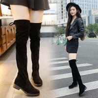 201909222358074312019秋冬季新款小辣椒粗跟过膝长靴女士黑色平底低跟长筒靴子