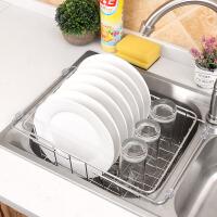 沥水架 不锈钢厨房水槽置物架沥水篮伸缩果蔬碗碟收纳篮