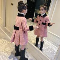 女童呢子大衣秋冬装童装儿童中长款格子外套春秋潮衣