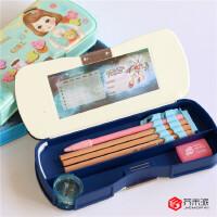 【单件包邮】得力PVC文具盒 95608多功能文具盒 学生自动文具盒铅笔盒