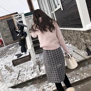 谜秀格子半身裙2017秋冬装新款韩版收腰修身A字裙中长款裙子冬