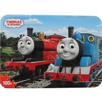 古部拼图 积木拼插玩具 托马斯与朋友们100片铁盒木质拼图木制玩具 11FF2548