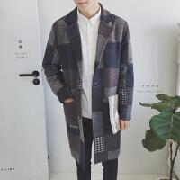 2018秋冬季帅气男士中长款风衣韩版修身格子毛呢大衣男装潮流外套