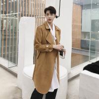 春季新款韩国ulzzang时尚修身男士中长款风衣发型师潮男青年外套 驼色