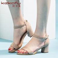 珂卡芙一字扣带凉鞋女粗跟高跟韩版百搭潮新款仙女凉鞋夏季