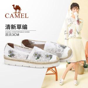Camel/骆驼女鞋 2018春季新款 印花平底单鞋女清新刺绣学生渔夫鞋