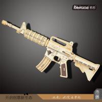 新款 3D益智DIY拼装玩具 M4突击步枪模型 儿童木质玩具