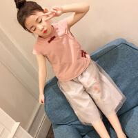 女童套�b夏季2018新款�n版�r尚洋�庵写笸�民族�L短袖�腿��杉�套 粉衣+灰�(套�b)
