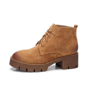 camel/骆驼女鞋 2017秋冬新款 英伦风方跟踝靴复古中跟短筒防滑耐磨靴子