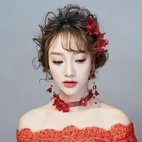 中式结婚红色花朵发夹蕾丝发带超仙新款敬酒礼服配饰套装