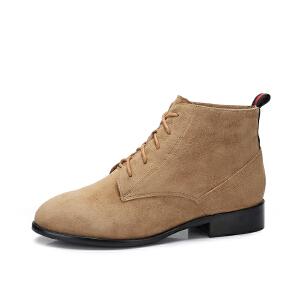 camel骆驼女鞋 2017秋冬新款 英伦风复古低跟短筒靴子简约方跟女靴