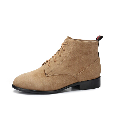camel骆驼女鞋 秋冬新款 英伦风复古低跟短筒靴子简约方跟女靴