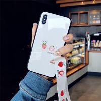 草莓玻璃挂绳苹果XS手机壳硅胶7plus潮牌iphone8新款可爱卡通6s女 6/6s 4.7寸 草莓