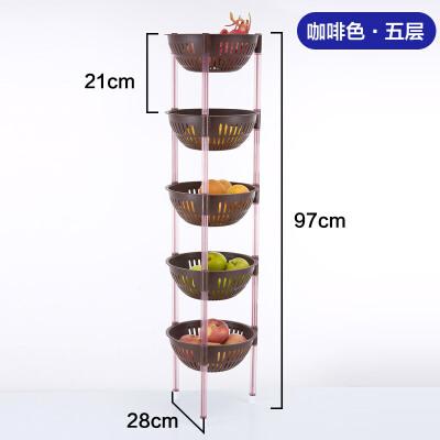 落地置物架 厨房用品三角架子储物筐架蔬菜水果收纳架加厚塑料多层抖音同款  时尚简约  收纳设计