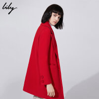 Lily春秋新款女装时尚大翻领中长款羊毛大衣外套118420F1507