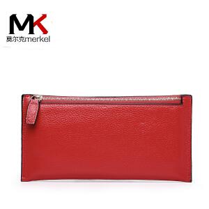 莫尔克(MERKEL)新款女钱包头层牛皮长款韩版简约女士钱包牛皮拉链钱包钱夹皮夹