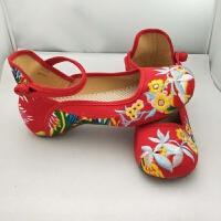 老北京布鞋民族风绣花鞋广场舞汉服鞋子女单鞋演出鞋内增高古风鞋