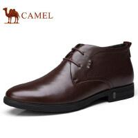 camel 骆驼男鞋 秋冬新品真皮商务休闲系带加绒保暖男士皮鞋子