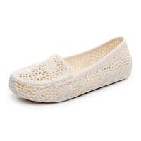 塑料凉鞋女夏平底洞洞鞋纯色镂空护士鞋软底沙滩鞋孕妇妈妈鞋